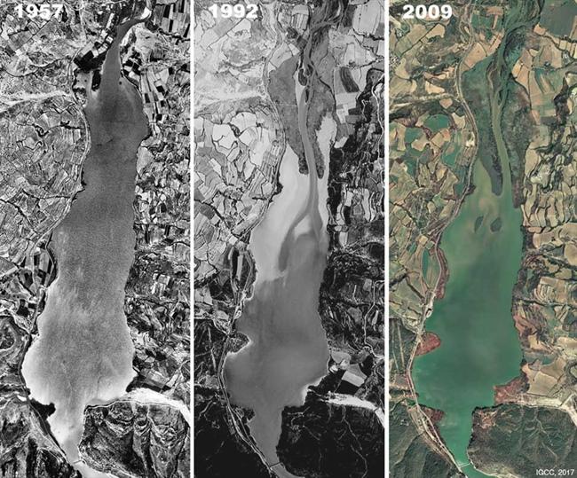 Retención de sedimentos para la construcción de la presa del embalse de Terradets en el rio Noguera Pallaresa. Las imágenes muetran la formación de deltas de origen antropogénico.