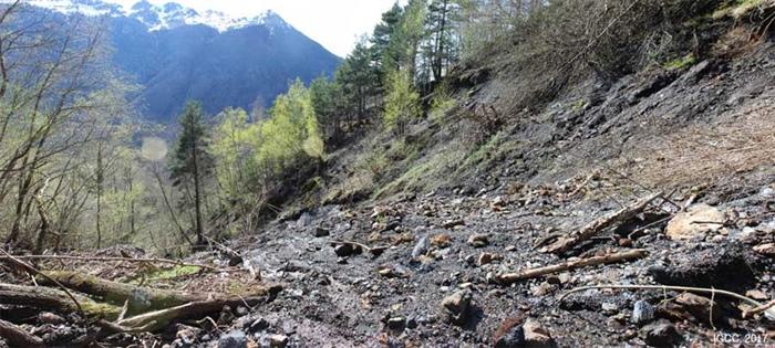 Cicatriz del flujo de derrubios sucedido el 22 de marzo de 2015 en Arres de Jos (Val d'Aran).