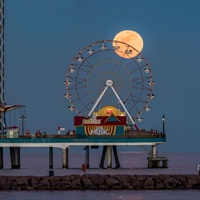 'Moonrise at the Pier'